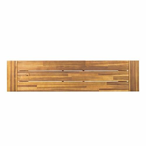GDF Studio 300496 Colonial Outdoor Sandblack Finish Acacia Wood Rustic Metal Bench Brown 0 2