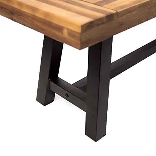 GDF Studio 300496 Colonial Outdoor Sandblack Finish Acacia Wood Rustic Metal Bench Brown 0 3
