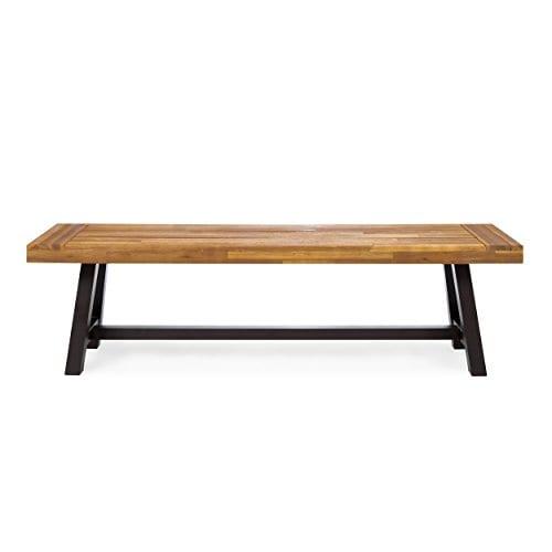 GDF Studio 300496 Colonial Outdoor Sandblack Finish Acacia Wood Rustic Metal Bench Brown 0