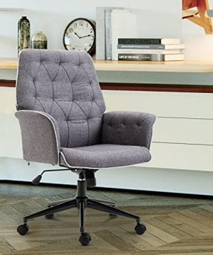 HOMCOM Adjustable Modern Linen Upholstered Office Chair With Lumbar Support And Arms 0 0 300x360