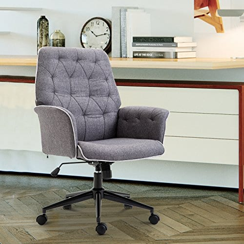 HOMCOM Adjustable Modern Linen Upholstered Office Chair With Lumbar Support And Arms 0 0