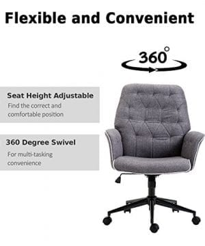 HOMCOM Adjustable Modern Linen Upholstered Office Chair With Lumbar Support And Arms 0 1 300x360
