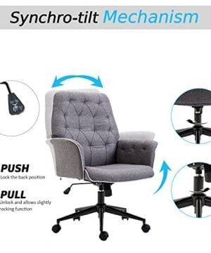 HOMCOM Adjustable Modern Linen Upholstered Office Chair With Lumbar Support And Arms 0 2 300x360