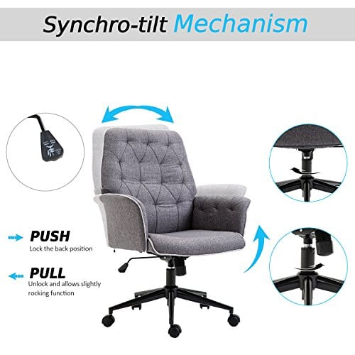 HOMCOM Adjustable Modern Linen Upholstered Office Chair With Lumbar Support And Arms 0 2