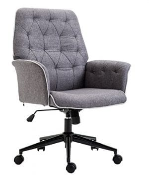 HOMCOM Adjustable Modern Linen Upholstered Office Chair With Lumbar Support And Arms 0 300x360