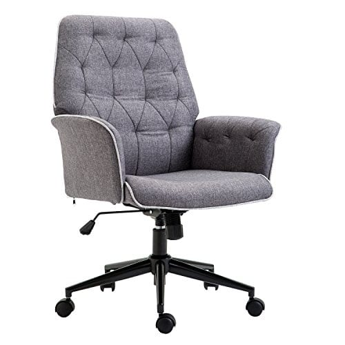 HOMCOM Adjustable Modern Linen Upholstered Office Chair With Lumbar Support And Arms 0