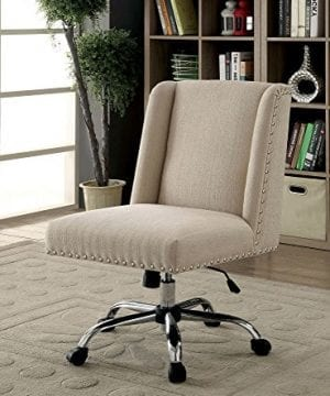 HOMES Inside Out IDF FC642IV Bronzite Wingback Office Chair Ivory 0 0 300x360