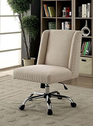 HOMES Inside Out IDF FC642IV Bronzite Wingback Office Chair Ivory 0 0