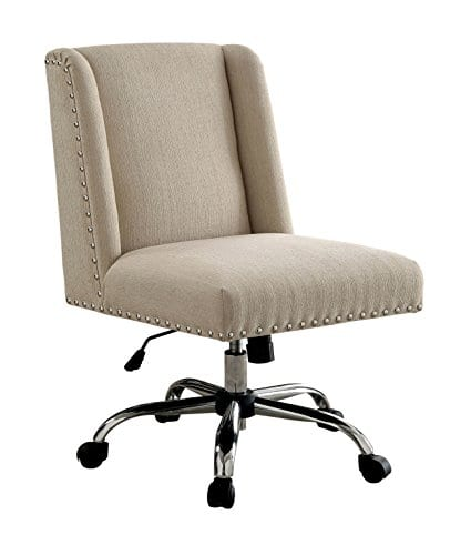 HOMES Inside Out IDF FC642IV Bronzite Wingback Office Chair Ivory 0