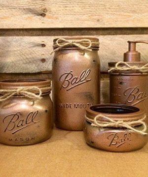 Hammered Copper Mason Jar Bathroom Set Rustic 4 Piece Mason Jar Bath Set 0 300x360