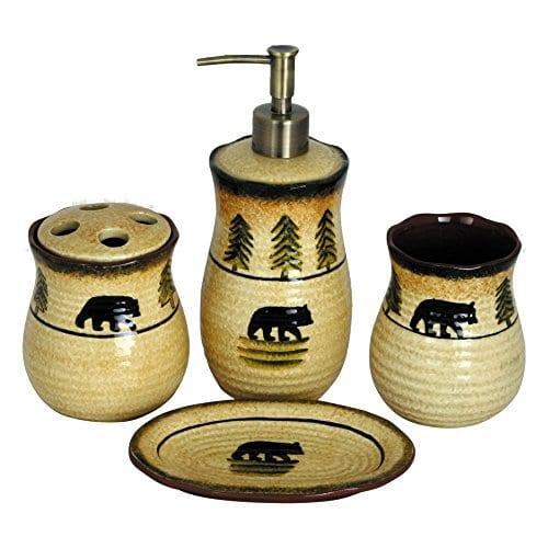 HiEnd Accents 4 Piece Bear Bathroom Accessories Set 0