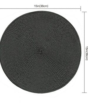 Homcomoda Round Placemats Insulation Braided Edge Round Table Mats For DiningKitchen Table Placemats Set Of 6 15 0 0 300x360