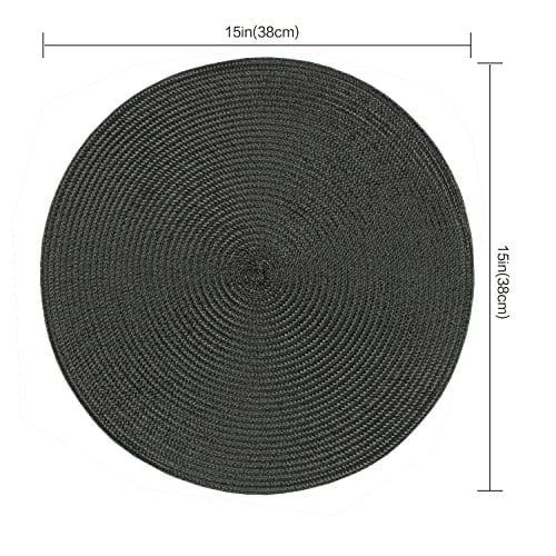 Homcomoda Round Placemats Insulation Braided Edge Round Table Mats For DiningKitchen Table Placemats Set Of 6 15 0 0