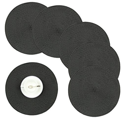 Homcomoda Round Placemats Insulation Braided Edge Round Table Mats For DiningKitchen Table Placemats Set Of 6 15 0