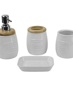 Home Basics Ceramic WBamboo 4PC Bath Set White 0 0 300x360
