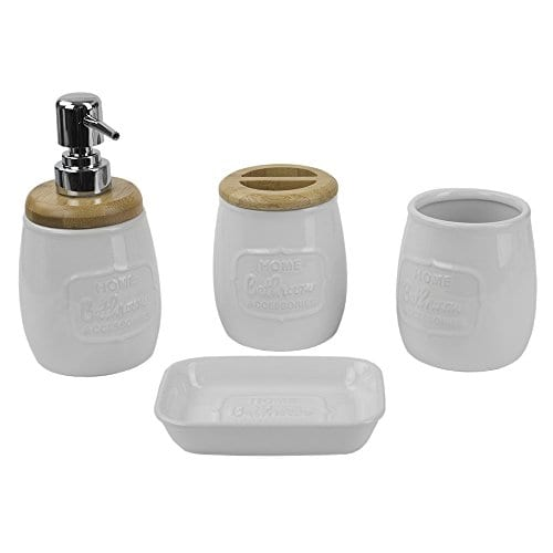 Home Basics Ceramic WBamboo 4PC Bath Set White 0 0
