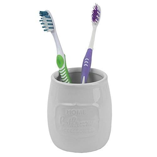 Home Basics Ceramic WBamboo 4PC Bath Set White 0 3