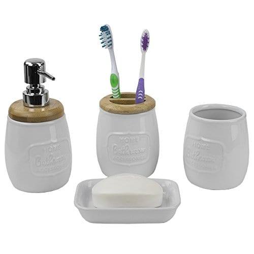 Home Basics Ceramic WBamboo 4PC Bath Set White 0