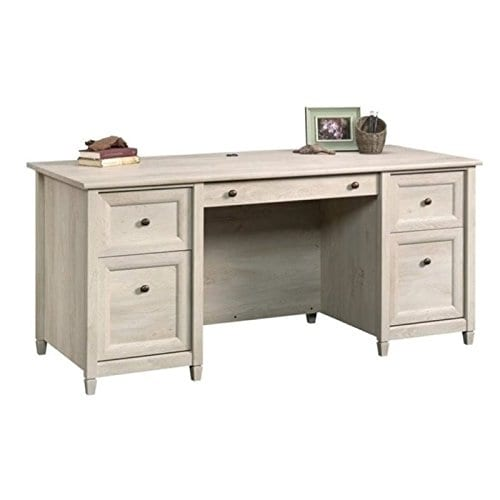 Home Square Rustic 2 Piece Executive Desk And Office Chest In Chalked Chestnut 0 1