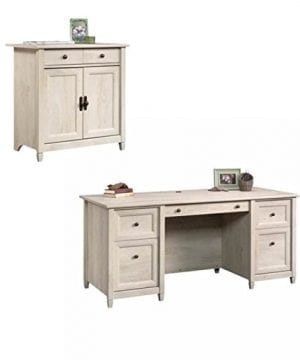 Home Square Rustic 2 Piece Executive Desk And Office Chest In Chalked Chestnut 0 300x360