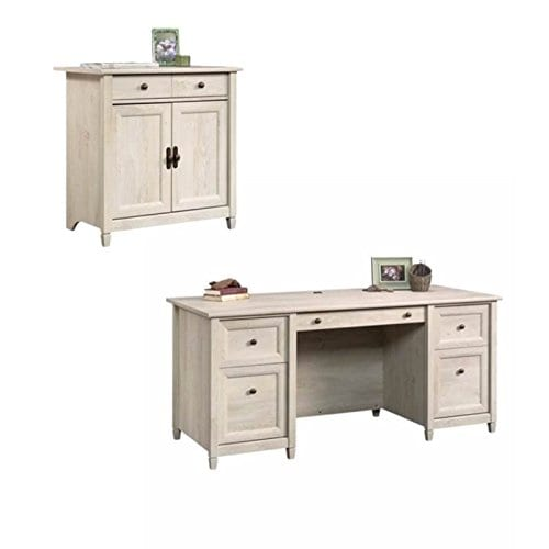 Home Square Rustic 2 Piece Executive Desk And Office Chest In Chalked Chestnut 0