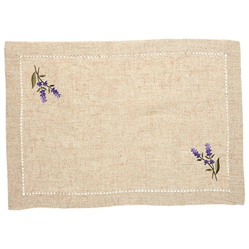 Juvale Placemats Set 4 Set Dining Table Mats With Embroidered Lavender For Kitchen Dining Table Decor Brown 1925 X 14 Inches 0 0
