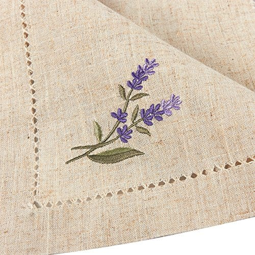Juvale Placemats Set 4 Set Dining Table Mats With Embroidered Lavender For Kitchen Dining Table Decor Brown 1925 X 14 Inches 0 1