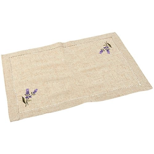 Juvale Placemats Set 4 Set Dining Table Mats With Embroidered Lavender For Kitchen Dining Table Decor Brown 1925 X 14 Inches 0 2