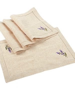 Juvale Placemats Set 4 Set Dining Table Mats With Embroidered Lavender For Kitchen Dining Table Decor Brown 1925 X 14 Inches 0 300x360