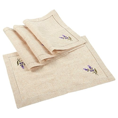 Juvale Placemats Set 4 Set Dining Table Mats With Embroidered Lavender For Kitchen Dining Table Decor Brown 1925 X 14 Inches 0