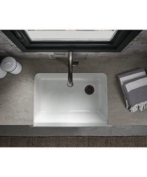 KOHLER K 5827 0 Whitehaven Self Trimming Under Mount Single Bowl Sink With Tall Apron White 0 1 300x360