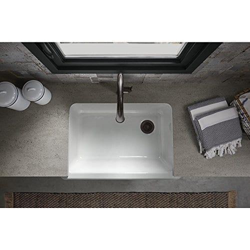 KOHLER K 5827 0 Whitehaven Self Trimming Under Mount Single Bowl Sink With Tall Apron White 0 1