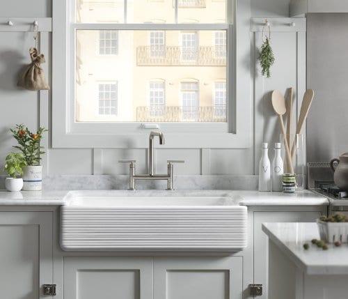 KOHLER K 6349 0 Whitehaven Hayridge Under Mount LargeMedium Double Bowl Kitchen Sink With Tall Apron White 0 0