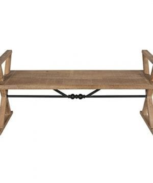 Kate And Laurel Travere Wood Bench Rustic Finish With Ornate Black Painted Metal Support Bar 0 1 300x360