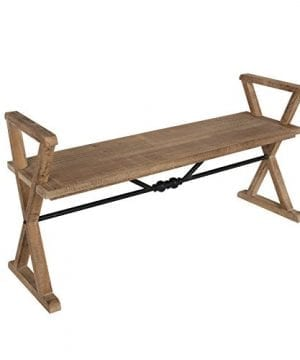 Kate And Laurel Travere Wood Bench Rustic Finish With Ornate Black Painted Metal Support Bar 0 300x360