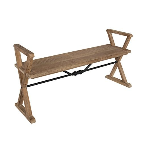 Kate And Laurel Travere Wood Bench Rustic Finish With Ornate Black Painted Metal Support Bar 0