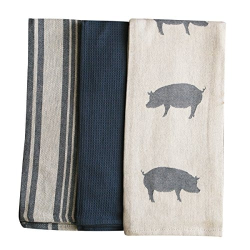 Kitchen Dish Towel By FED Extra Large Tea Towel In 3 Variations 100 Professional Cotton Machine Washable Fabric SetPack Of 3 0 1