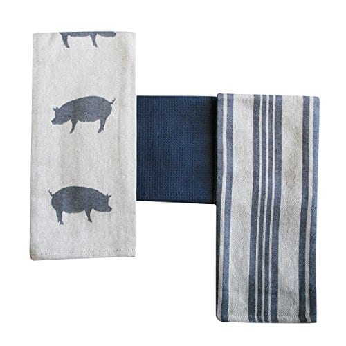 Kitchen Dish Towel By FED Extra Large Tea Towel In 3 Variations 100 Professional Cotton Machine Washable Fabric SetPack Of 3 0 2