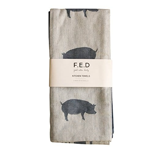 Kitchen Dish Towel By FED Extra Large Tea Towel In 3 Variations 100 Professional Cotton Machine Washable Fabric SetPack Of 3 0 3