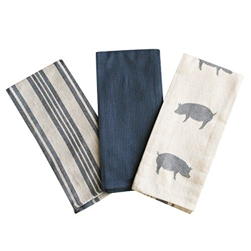 Kitchen Dish Towel By FED Extra Large Tea Towel In 3 Variations 100 Professional Cotton Machine Washable Fabric SetPack Of 3 0
