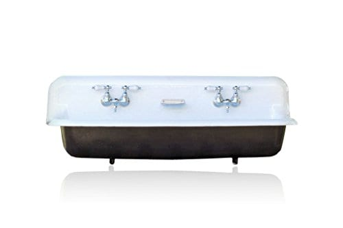 Large 48 Antique Inspired Farm Sink Black Cast Iron Trough Sink Package Porcelain Lever Faucet 0