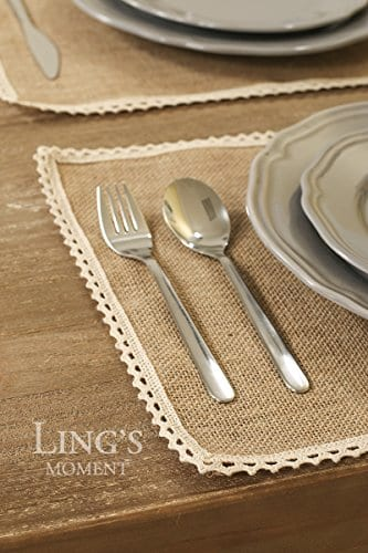 Lings Moment 4 Set Jute Rustic Burlap Placemats Country Vintage Thanksgiving Dinner Decoration Farmhouse Kitchen Table Decorfor Parties BBQs Holidays Use Set Of 4 0 1