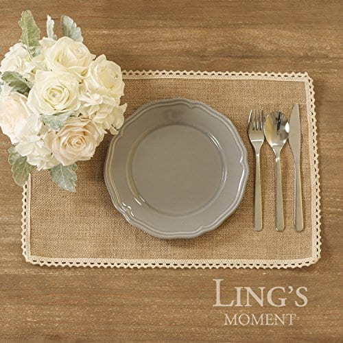 Lings Moment 4 Set Jute Rustic Burlap Placemats Country Vintage Thanksgiving Dinner Decoration Farmhouse Kitchen Table Decorfor Parties BBQs Holidays Use Set Of 4 0 3