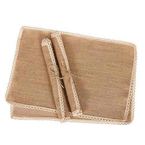 Lings Moment 4 Set Jute Rustic Burlap Placemats Country Vintage Thanksgiving Dinner Decoration Farmhouse Kitchen Table Decorfor Parties BBQs Holidays Use Set Of 4 0