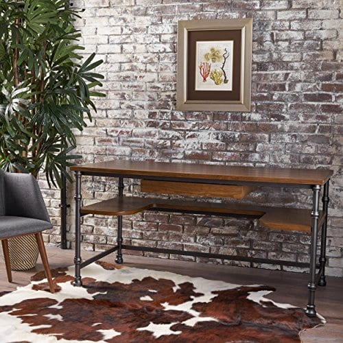 Loster Home Office Desk Industrial Rustic Design Faux Ash Wood Overlay Dark Brown Finish 0 0