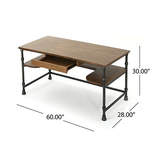 Loster Home Office Desk Industrial Rustic Design Faux Ash Wood Overlay Dark Brown Finish 0 3