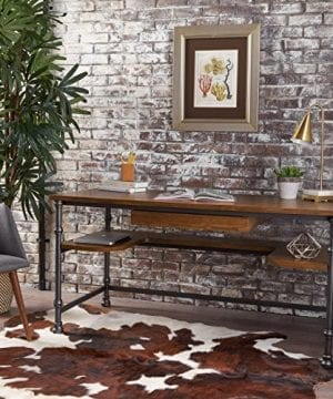 Loster Home Office Desk Industrial Rustic Design Faux Ash Wood Overlay Dark Brown Finish 0 300x360
