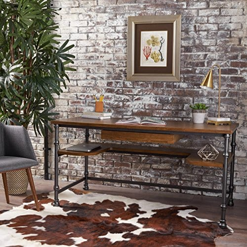 Loster Home Office Desk Industrial Rustic Design Faux Ash Wood Overlay Dark Brown Finish 0