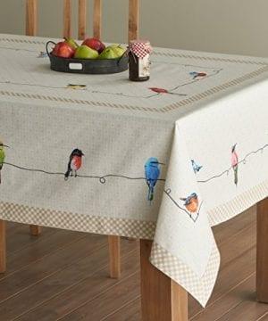 Maison D Hermine Birdies On Wire 100 Cotton Tablecloth 0 300x360