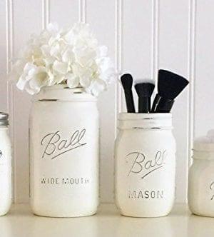 Mason Jar Bathroom Accessory Set 4 Piece White Soap Pump Vase Vanity Organizer 0 300x332